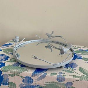 Baby blue metal bird mirror tray